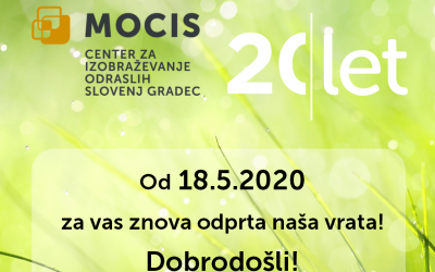 MOCIS ODPIRA SVOJA VRATA od 18.5.2020